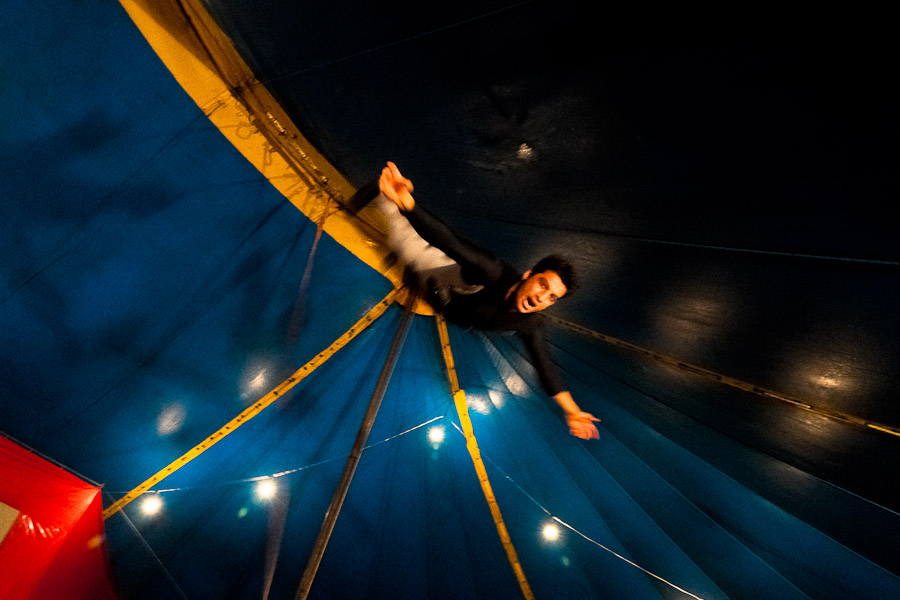 A Colombian man performs a flying trapeze act at the Circo Anny.